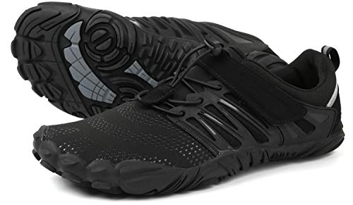 WHITIN Men's Trail Running Shoes Minimalist Barefoot 5 Five Fingers Wide Width Toe Box Gym Workout Fitness Low Zero Drop Male Sneakers Treadmill Free Athletic Ultra Black Size 11