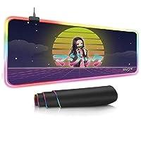 ゲーミングマウスパッド アニメ鬼滅の刃 RGBゲーミングマウスパッド14の照明モードを備えた大型の拡張ソフトLedマウスパッド2つの明るさレベルコンピューターキーボードマウスパッドマット 50*100cm