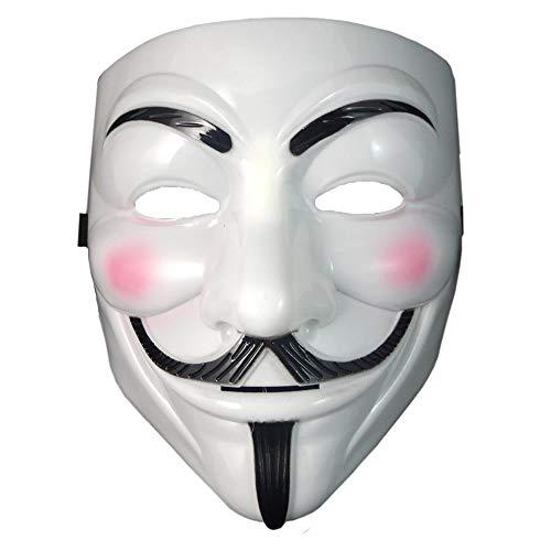 Dream Loom V per Vendetta Mask, Anonimi Guy Fawkes Costumi di Halloween Puntelli per Cosplay in Maschera per Feste in Maschera (Bianco)