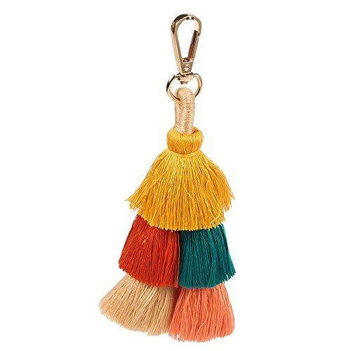Llavero de Borla Llavero Pompon con Borlas Colgante Bohemia Accesorios Hechos a Mano de Moda para Mujer Bolso/Bolsa/Coche decoración Colorida
