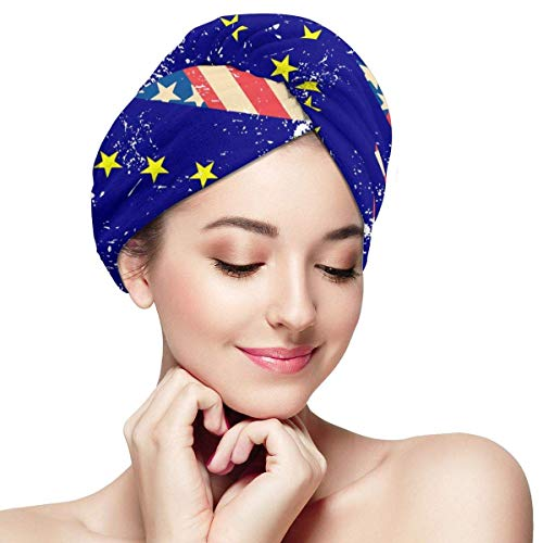 Retro USA und Alaska State Flag Hair Towels Wrap Print Buttons Dry Hair Hat Wrapped Bath Cap Absorbent Cap Fits Most Hair Types
