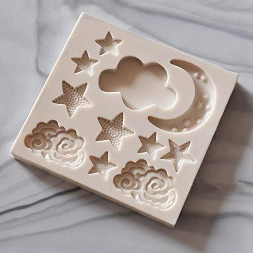 FINIMY Moules de Cuisson en Silicone étoile Lune Forme Silicone Bricolage Fondant Moule à gâteau Moule à Chocolat gommeux Appareil de Cuisson A