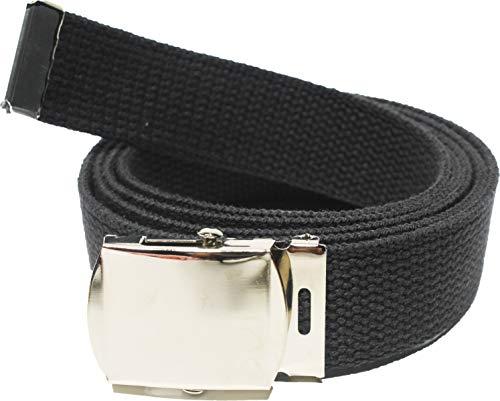 "ARMYU 100% Cotton Military 54"" Web Belt (Black Belt w/Chrome Buckle)"