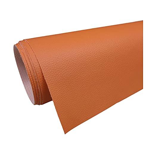Tela de Imitación de Cuero PVC Litchi Patrón de Cuero para Reparación de Sofás Costura Elaboración de Proyectos de Bricolaje - (1 Pieza = 100Cm X160cm) - Naranja Rojo,1.6x20m