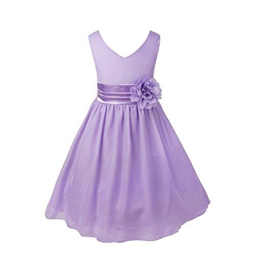 TiaoBug Girls Party Dress Wedding Bridesmaid Pageant Chiffon Flower Dresses Lavender 8