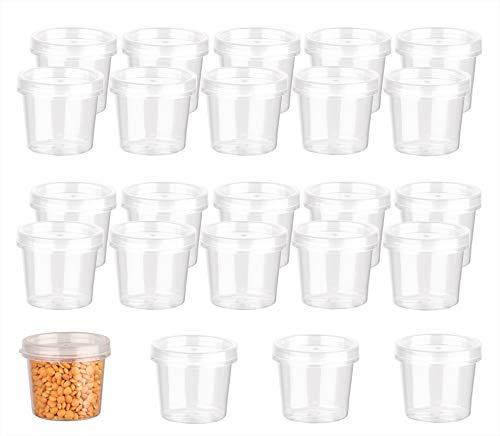 24x Aufbewahrungsdose 35 ml mit Deckel - Lebensmittelecht - Mini-Dose für Kräuter, Dips, Soße - Plastik-Behälter klein - Gefrierdosen - Mini Ketchup-Dose