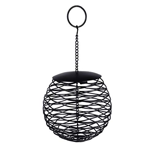 VILLCASE Black Bird Seed Feeder Ball Ausgehöhlter Feeder Eisen Eichhörnchen Proof Wild Bird Hanging Feeder 9. 82X5. 11X5. 11 Zoll für Gartengarten