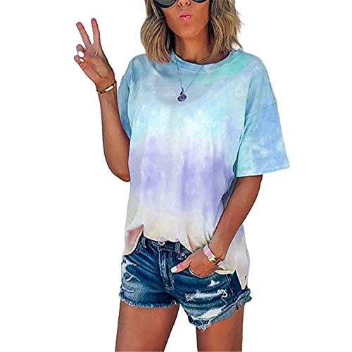 Tops Mujer Elegante Cuello Redondo Manga Corta Camiseta Mujer Tie Dye Gradient Print Shirt Mujer Verano Diario Casual Tendencia Blusa Mujer F-Light Blue 3XL