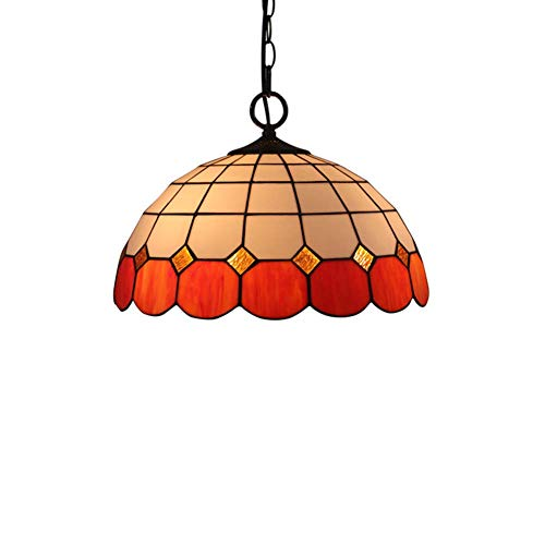XNCH 16 inch Pendant lamp Tiffany Style Chandelier/Suspension LampEuropean Wisteria Stained Glass Pendant Lights Creative Bedroom Study Restaurant bar Ceiling lamp Deck Hanging Lights lamp E27-red