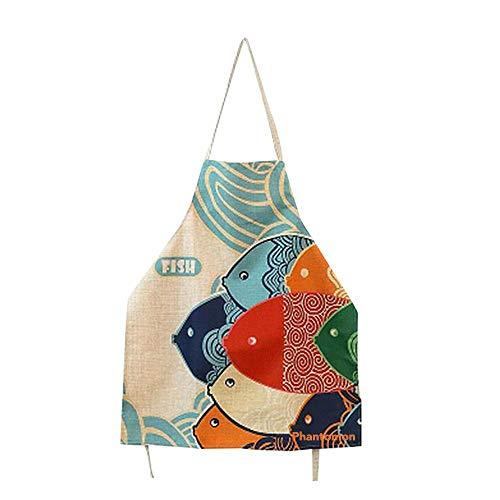 Japanese-Style Fish Print Apron