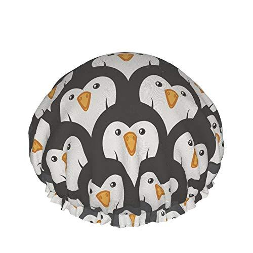 Pinguine Duschhaube Für Frauen Wiederverwendbarer Waschbarer Wasserdichter Doppelschichtiger Badehaarhut Für Männer