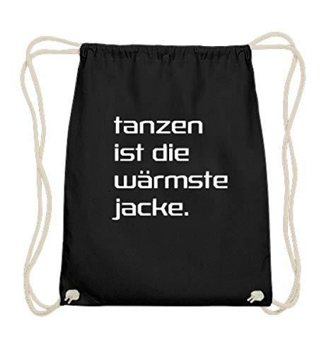Tanzen ist die wärmste Jacke|Electro Musik|Raver|Raven|Hardstyle|Shuffle|Tänzer|Geschenk - Baumwoll Gymsac -37cm-46cm-Schwarz