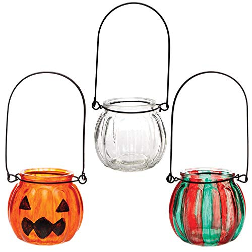 Baker Ross AW767 glazen lantaarn theelichthouder (boxen met 4 stuks) knutselen voor kinderen, gesorteerd