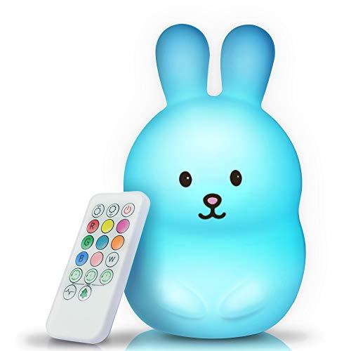BRUNOKO luz nocturna infantil - lámpara quitamiedos portátil y USB recargable -...