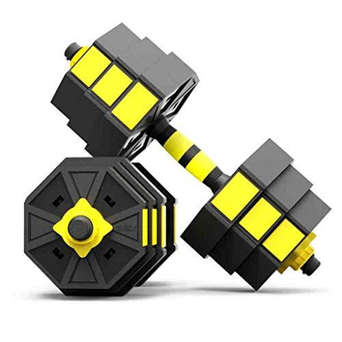 Mancuernas Un Par Móviles Barra De Peso Ajustable Equipos Domésticos De Fitness para Hombres Seguridad Sin Rodar (Color : Yellow, Size : 15kg)