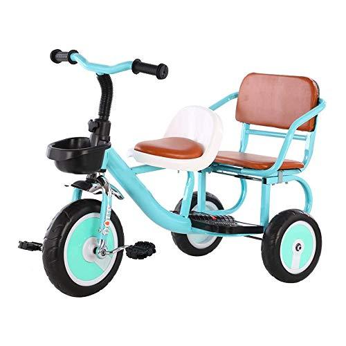 HYDDG Tandem Fahrrad, Perfekt zum Zwei Kinder Ab 3 Jahren, Ermutigt Aktiv Abspielen, Sozial Interaktion, Dauerhaft Dreirad Design, Solide Reifen, Eingebaut Sicherheit Eigenschaften,Blau