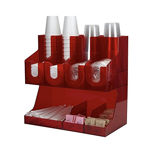 Mind Reader Coffee Condiment and Accessories Caddy Organizer, For Coffee Cups, Stirrers, Snacks, Sugars, etc. Red