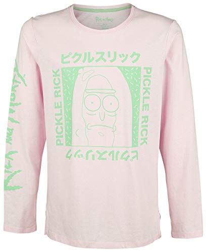 Rick and Morty T Shirt Japanese Pickle Rick Logo Ufficiale Uomo Rosa Long Sleeve Size M