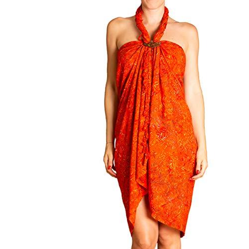 Panasiam Sarong, telo estivo in colori vivaci, fatto a mano, in viscosa di alta qualità Arancione B0017 Orange Bambooleaf