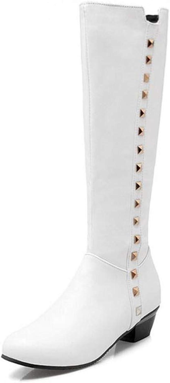 JOYBI Women Winter Waterproof Knight Boots Low Heels Zipper Rivet Warm Vintage Round Toe Knee High Boot