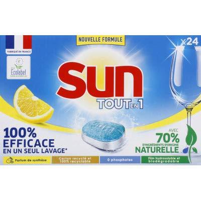 SUN TOT-EN-1 - Pastillas para lavavajillas eficaces y respetuosas con el limón – 24 dosis