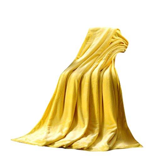 Hmlai Clearance Flannel Fleece Blankets Super Soft Warm Solid Warm Micro Plush Fleece Blanket Throw Rug Sofa Bedding (Yellow, 50x70cm)