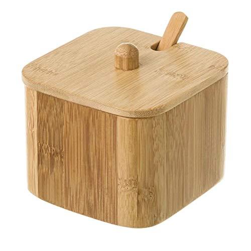 D,casa - Azucarero o salero de Bambu con cucharita para Coci