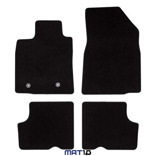 MAT10 – Black-Line: Dacia Logan MCV Kombi 5 plazas Año de construcción 2007-01 – 2013 – 06 Auto alfombras Dilour Fieltro Aguja 4 Piezas Negro Ajuste garantizado