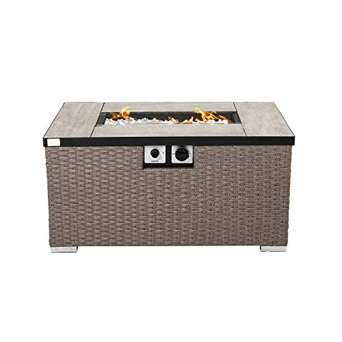 COSIEST Outdoor Propane Fire Pit 32-inch x 20-inch Rectangle Brownish Gray Wicker Fire Table(40,000 BTU),Free Lava Rocks and Waterproof Cover, Fits 20 gal Tank Outside