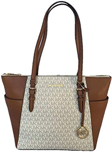Michael Kors Charlotte Signature Large Top Zip Tote - Vanilla