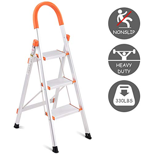 Giantex 3 Step Ladder Folding, Aluminum Step Stool Ladder w/Anti-Slip Handgrip and Wide Pedal, 330 lbs Load Capacity Platform Step Stool for Home, Garden and Office