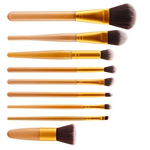 Set 9pcs Pinceaux de Maquillage Professionnel Brosse Cosmétique Ensemble - Or