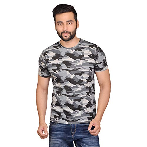 American Noti Camoflage milatery Print Army Half Sleeve Cotton Round Neck Regular fit Printed Tshirt for Men anmil235