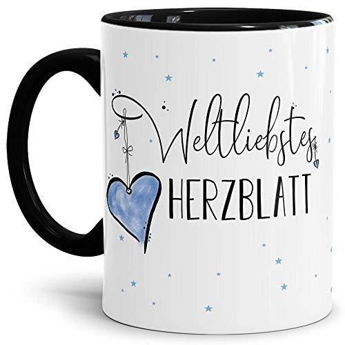 Tasse mit Spruch - Weltliebstes Herzblatt männlich - Geschenk für Fre&, Partner & liebsten Mann - Innen und Henkel Schwarz, 300 ml