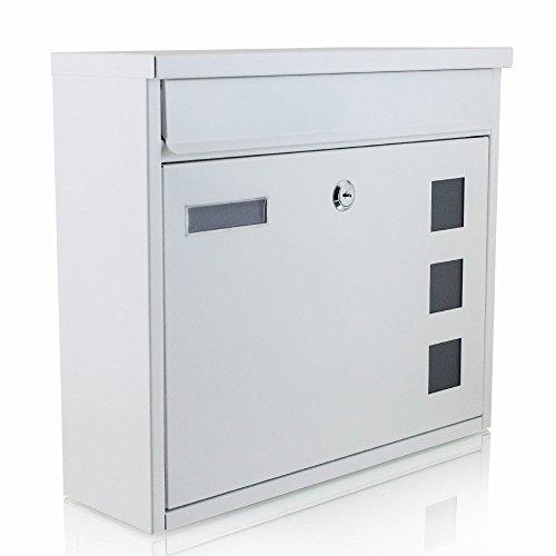BITUXX® Wandbriefkasten Briefkasten Postkasten Mailbox Letterbox Hausbriefkasten Weiß