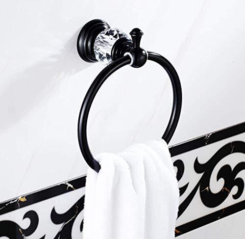 YSJ RVS aluminium badkamer-hangende ronde handdoek-ring continentale zwarte handdoekhouder rek aan de muur bevestigde hoofdproduct-wc-badhanddoek-ring