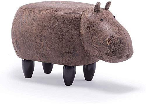 Shoe verandering kruk huishoudelijke opslag kruk Creative Animal Hippo Shape Hockers met houten poten en Soft Seat banken for huis dragen van schoenen Ottomaanse F0106 (Kleur: Wit), Kleur: Geel Eenvou