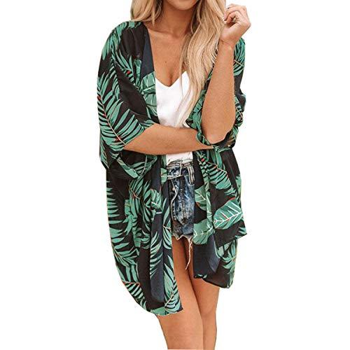 ECOMBOS Cardigan long floral pour femme - En mousseline de soie - Pour l'été - Style bohème - Vert - XL