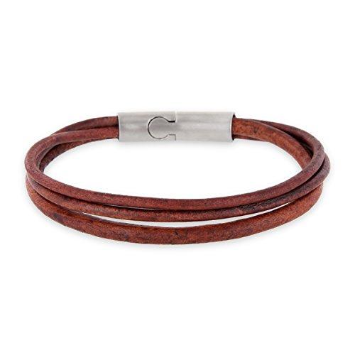 Auroris 3-Strang Echtleder-Armband Magnetverschluss aus Edelstahl mit matt-Optik - antikbraun/Länge 20 cm