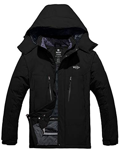Wantdo Men's Waterproof Snowboard Jackets Winter Snow Coat Sports Outwear Black L