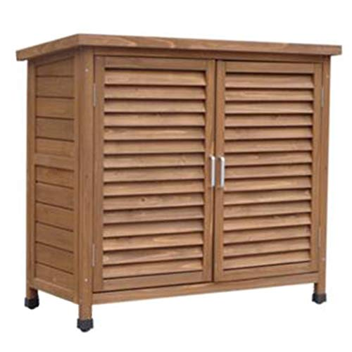 YCDJCS Garden Cabinets Outdoor Wooden Storage Cabinet or Tool Shed In Natural Waterproof Utility Sheds with Double Doors And Roof Garden Accessories (Color : Brown, Size : 100 * 45 * 90 cm)