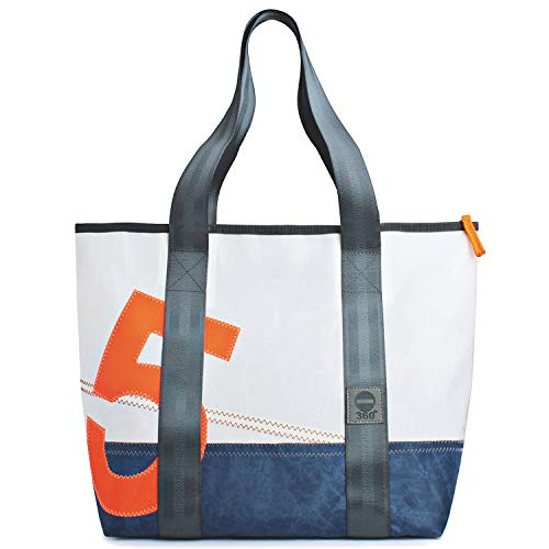360° Grad Umhängetasche Damen, Segeltuch-tasche, Shopper weiss mit Zahl Neon Orange, Balken blau, Gurte grau