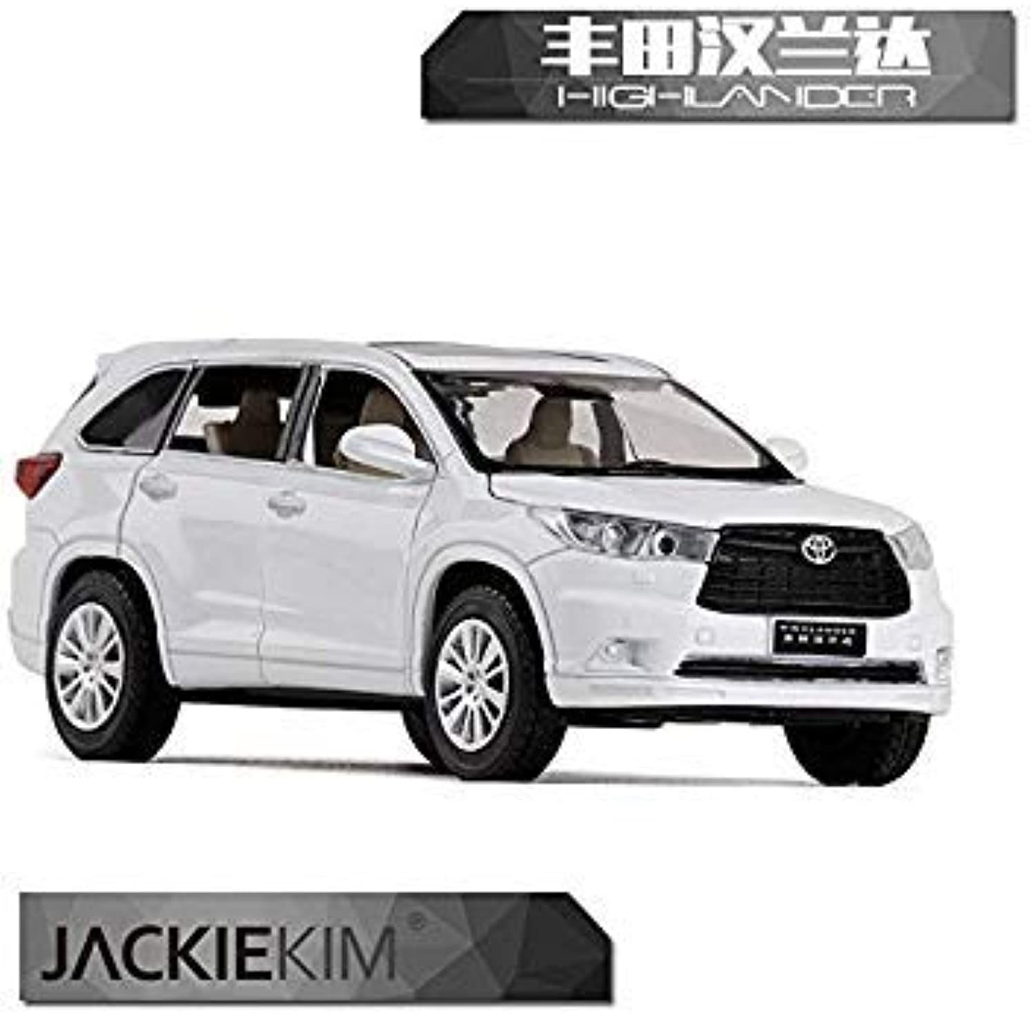 RIAN Day 1 32 Scale Sound&Light Car Toys Toyota Highlander SUV Diecast Metal Car Model Toy for Gift Collection Kids White