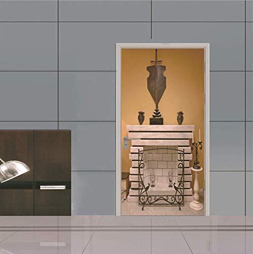 Huisdecoratie Open haard 3D Deur Stickers Slaapkamer Houten Deur Renovatie Stickers zelfklevende Muurstickers