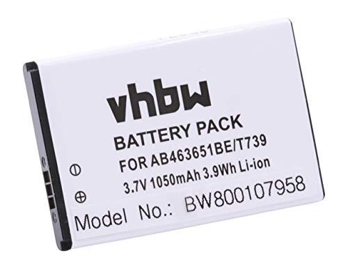 vhbw Li-Ion batteria 1050mAh (3.7V) per cellulari e smartphone Samsung SGH-P220, SGH-P260, SGH-P270, SGH-R450, SGH-R450 Katalyst, SGH-S239