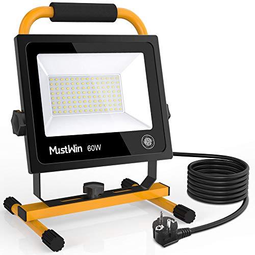 MustWin LED Baustrahler 60W Arbeitsleuchte 6000LM Arbeitsscheinwerfer Bauscheinwerfer mit Touch Dimmfunktion Steckdose 5M Zuleitung, IP65 Wasserdicht 5000K Tageslichtweiß für Werkstatt Baustelle