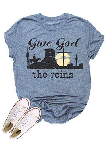 Give God The Reins Country Music Shirt Women Western Cowboy Crew Neck Short Sleeve Vintage Top Blue
