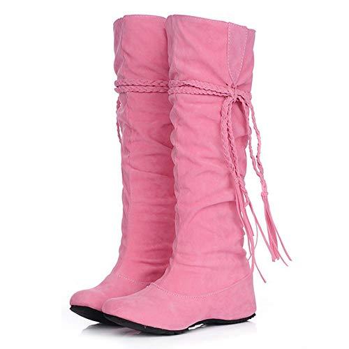 QKFON Kniehohe Stiefel mit Keilabsatz und Quaste aus PU-Leder für Damen, Overknee-hohe Stiefel, Paar mit Jeans, Skinny-Hose, Rock, Kleid, Innenhöhe erhöht