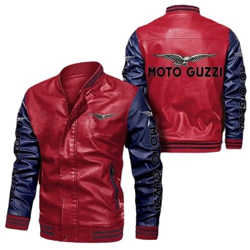 SPONYBORTY Giubbotto bomber in ecopelle per cappotti da corsa Moto-GuZzi stampato Giacca a vento Giacca da ciclismo Cycling Uomini/D/S
