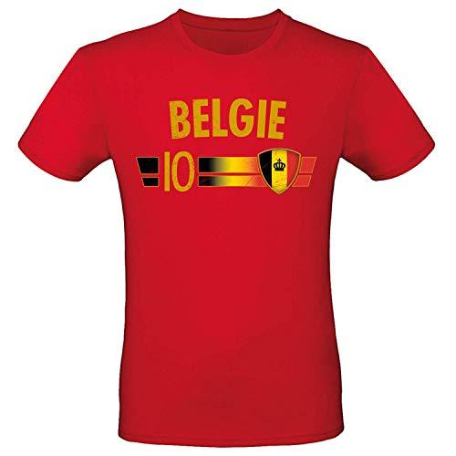 Shirt-Panda Fußball WM T-Shirt · Fan Artikel · Nummer 10 · Passend zur Weltmeisterschaft · Nationalmannschaft Länder Trikot Jersey für 2022 · Herren Damen Kinder · Belgien Belgie Belgique Belgium L